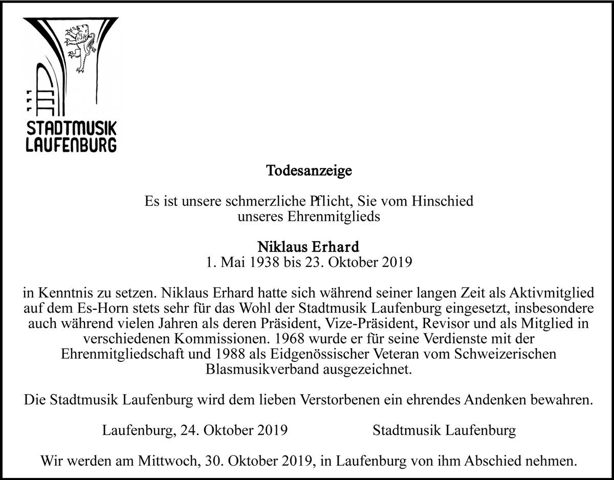 Todesanzeige Niklaus Erhard