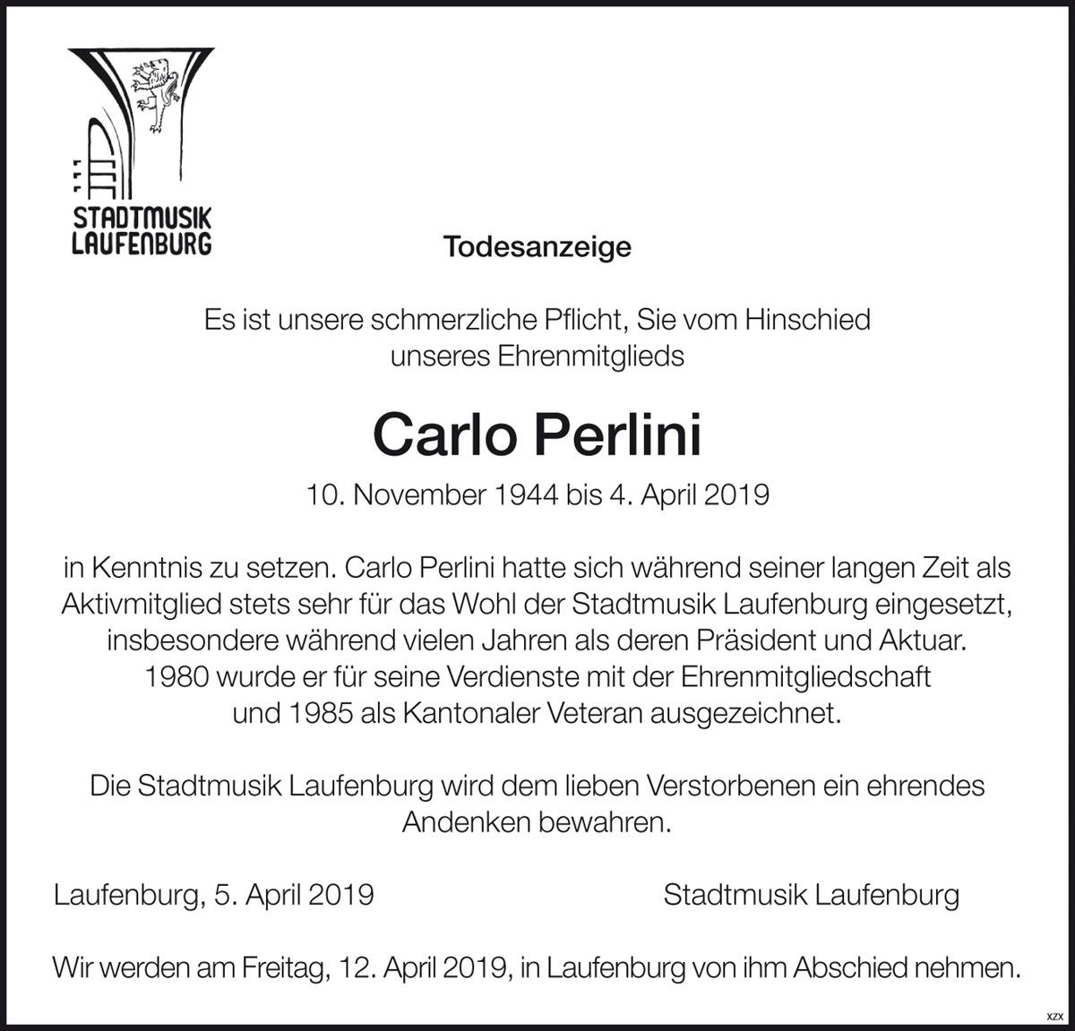 Todesanzeige Carlo Perlini
